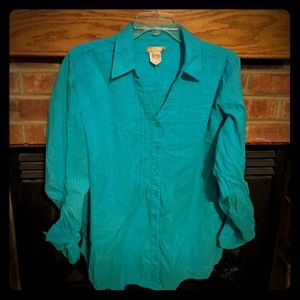 White stag brand turquoise 3/4 button down XL